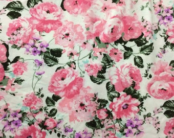 Pink and White Floral Double Brushed Poly Knit