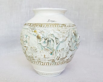 Vintage Italian Porcelain Vase,White Vase ,Vintage Vase, Berger vase,Italian vase, gold  accents vase,