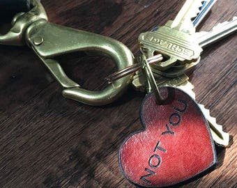 Free shipping** Distressed heart leather key chain