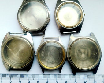 5pcs Vintage Watch Parts Case Crystal Back Cover Steampunk Aletered Art Dia approx 30-35mm