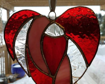 Sweet stained glass heart sun catcher.