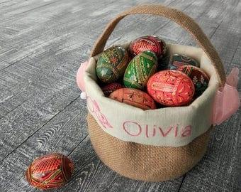 Easter basket, Personalized easter basket, Easter burlap basket, easter fabric basket.