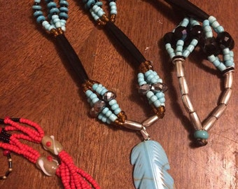 Klamath native hand made beaded necklace, turquoise feather necklace, beaded native necklace turquoise and brown bohemian style necklace