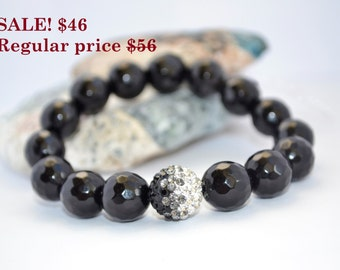 SALE Statement Bracelet SALE Statement Jewelry Black Agate Bracelet Shamballa Bracelet Gift for Her