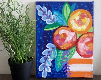Flower Painting, Floral Art, Colorful Flowers, Flower Bouquet, Abstract Art, Abstract Florals, Peonies, Gift, Acrylic Painting, 9x12 Canvas