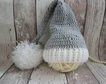 Crochet baby elf hat, baby sleeping hat, long tail hat, newborn props, stocking hat, foto props