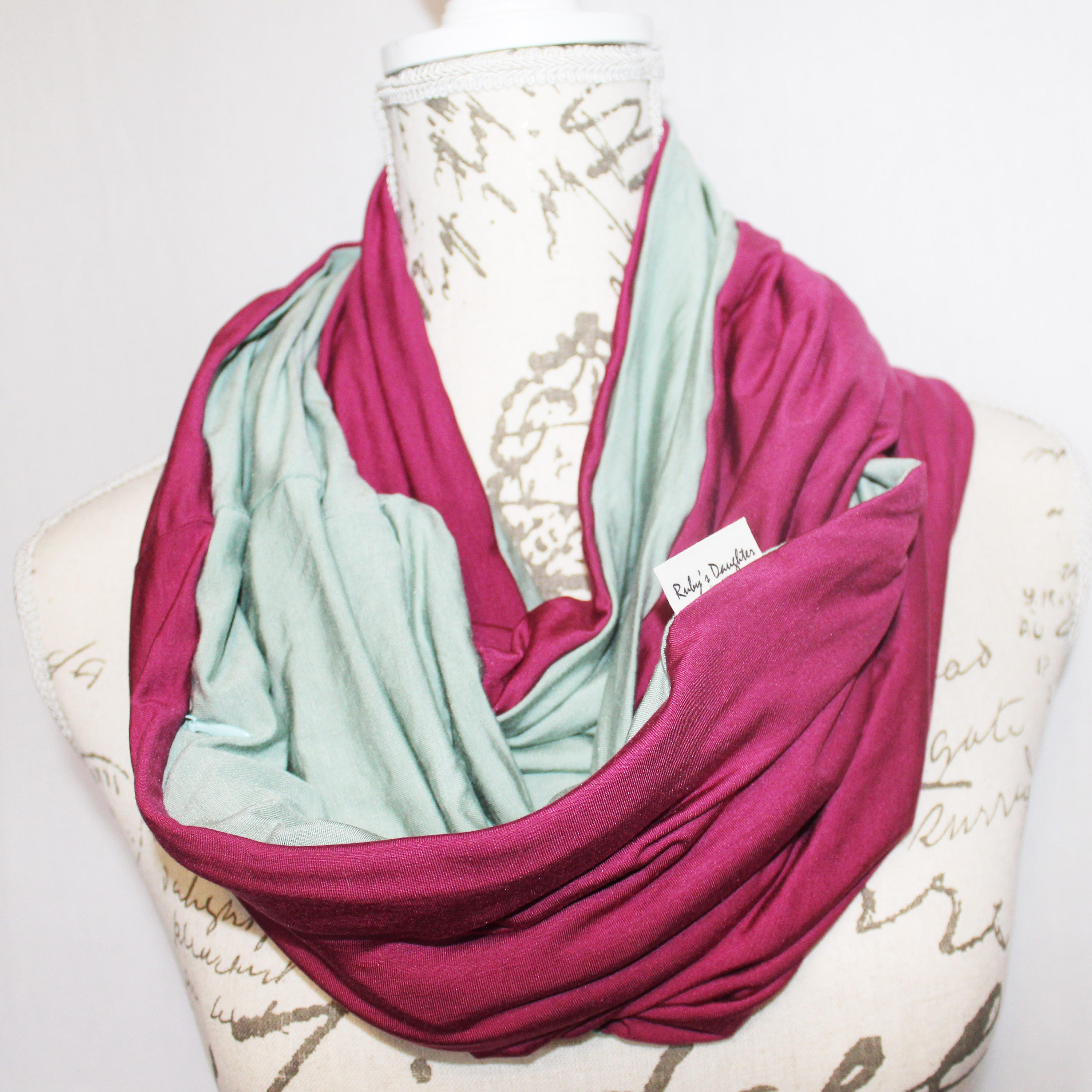 Travel scarf raspberry and sage green infinity scarf with for Travel scarf