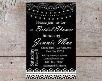 Editable Bridal Shower Invitation Black Brunch Elegant Wedding