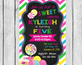 Sweet Shoppe Birthday Invitation, Sweet Shoppe Birthday Party, Candyland Invite, Candy Invitation, Sweet Shoppe Invitation