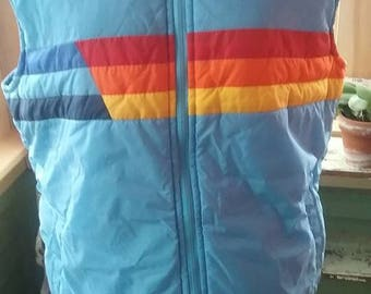 Vintage Men's Puffy Rainbow Ski Vest!