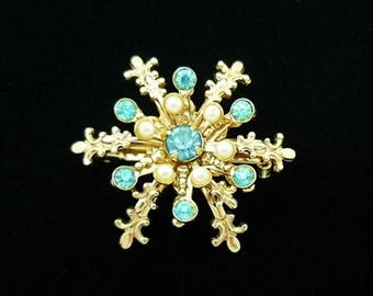 Teal Blue Rhinestone Snowflake Brooch, Rhinestone Brooch, Antique Brooches, Scatter Pins, Small Pins, Vintage Pins, Antique Pins