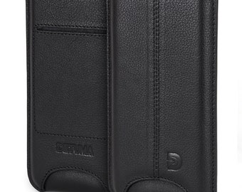 iPhone 7 Case, iPhone 6s / 6 Leather Sleeve, Natural Nappa Leather Pouch - DETUMA® Talha Vintage Black