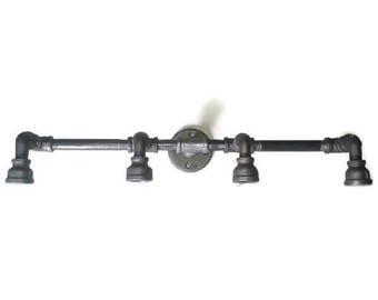 """Industrial Vanity Light Fixture- 24"""" or 30""""  Steampunk Pipe Lighting"""