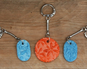 Decorated Porcelain Keyrings Present Unique and Handmade