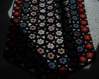 Antique Canadian Hand Created Folk Art Penny Mat/Rug/Wallhanging