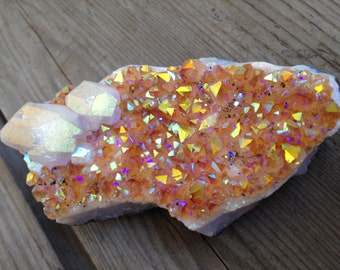 Angel Aura Citrine With Calcite (For Crown Chakra, Prosperity, Abundance, Balance and Stability)