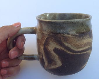 Marbled clay mug - Unglazed ceramic mug