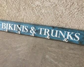 "Beach House Coastal Decor Rustic Beach Sign Swim Suit Hanger Towel Holder Reclaimed Wood Weathered Wood Sign 40"" x 5 1/4"""