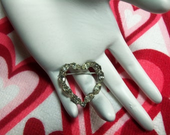 Vintage Silver Tone Prong Set Clear Marquis Rhinestone Heart Pin Brooch