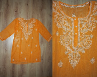 Orange Sheer Embroidered Sequins Kaftan Tunic Cover Up