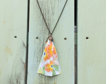 Tassel necklace made with vintage sheets. Upcycled necklace.