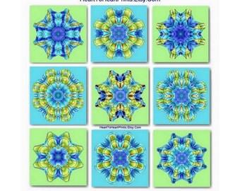 Lime Aqua Turquoise Wall Art Beach House Decor Green Blue Decor Mandala Abstract Geometric Prints Collection Gallery Wall Art Set of 9