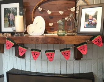 Watermelon garland, crocheted bunting, summer, beverage station, home decor, ready to ship, banner