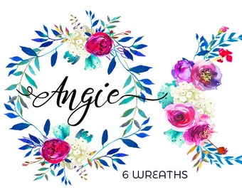 Watercolor Floral Wreaths Clipart Digital Flowers Indigo leaves Pink  Peonies PNG Wreaths Clip Art Wedding Invitation Frames Hand Painted