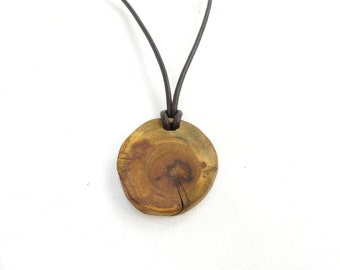 Adjustable pendant necklace with wooden, adjustable leather necklace with pendant, wood pendant