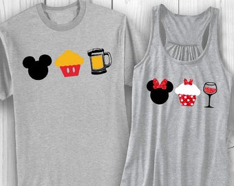 Couple's (2) Disney (EPCOT) shirts w/ Cupcake