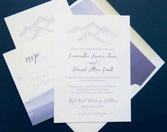 Mountain Wedding Invitation Suite - Blue and White Wedding Suite - Five Piece Invitation Set - SAMPLE