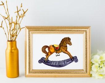Watercolor Rocking Horse - Clipart + Print