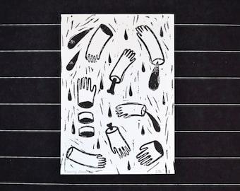 Linocut hands cut off A6