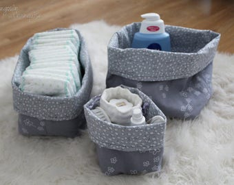 IN STOCK - Baskets - reversible bags - fabric storage baskets fabric trio - empty Pocket