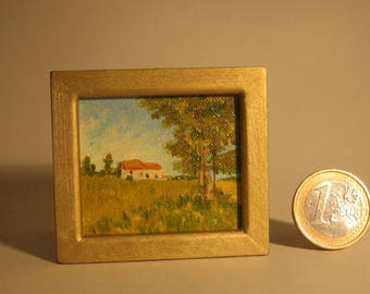 1:12 scale miniature hand painted oil painting on canvas