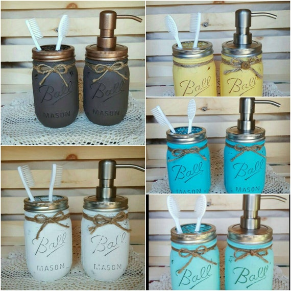 Rustic bathroom decor painted mason jars 2 pc mason jar for Bathroom decor mason jars