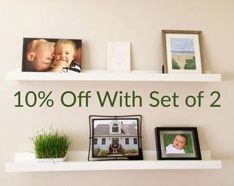 Set of 2 - Floating Picture Ledges, Floating Shelves, Art Shelf, Picture Shelf, Display Ledge, Gallery Shelf, Rustic Wooden Shelf