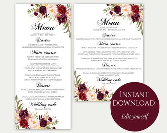 Menu card template | Etsy
