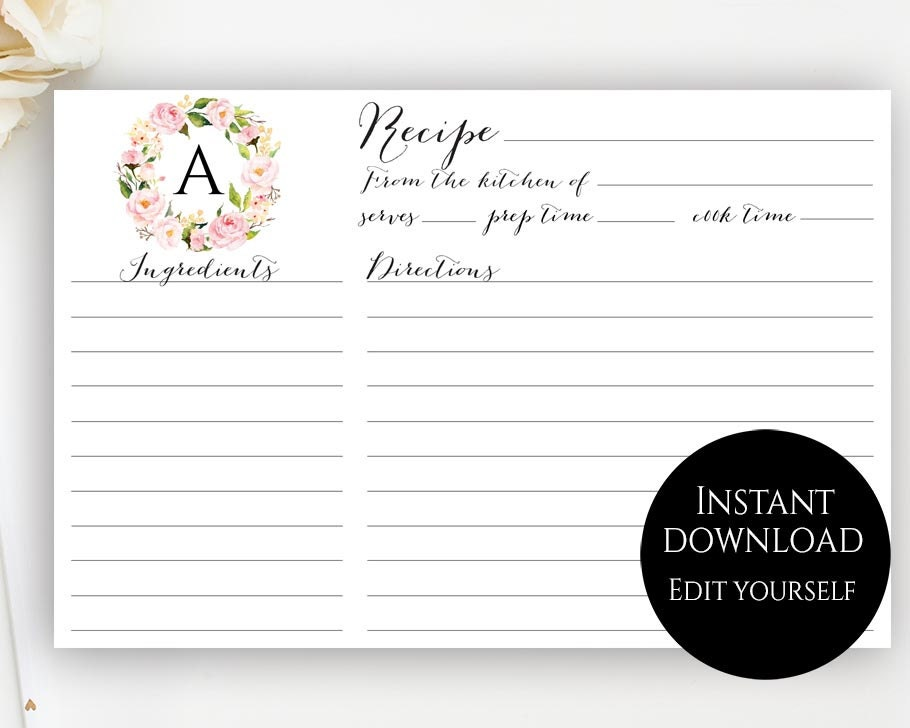 Recipe card template editable recipe cards monogram recipe for Editable recipe card