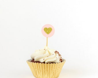 Heart cupcake toppers. Gold pink. First birthday party. 12 Party cake toppers. Gold glitter cupcake toppers. Pink cupcake toppers. Birthday