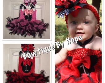 Minnie Mouse Birthday Tutu Petti Dress with Crochet Top and Hair bow in Red or Pink and Black