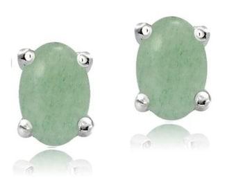 Sterling Silver Genuine Emerald 5mmx3mm Oval Stud Earrings