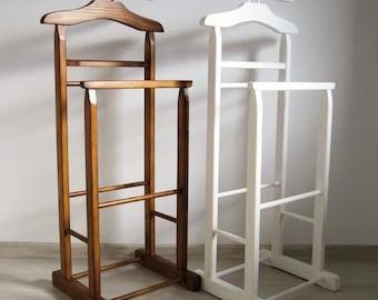 Valet stand - lot de 2 blanc et noisette
