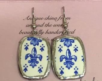 Antique Chinawear Fleur de Lis Earrings