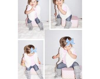 sailor bow, chambray, bows, baby girl headband