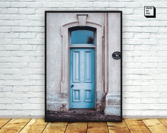door photography, door print, door wall art, urban art print, architecture art, door wall print, blue decor, blue door photo print,