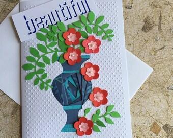 Handmade Flower vase card