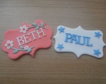 Edible Name Plaque, boy,girl,cake topper,birthday,christening wedding,retirement.cake decoration