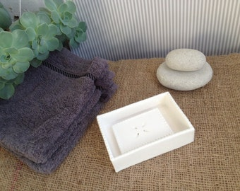 Elegant two parts handmade white ceramic soap dish