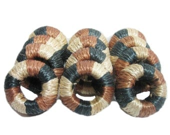 Vintage Woven Straw Napkin Rings/ Holder, Set of 12, Kitchen Dining Table Decor